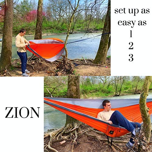 Zion Sports Outdoor Camping Hammock – Portable Double Hammock with Tree Straps and Carabiners for Hiking, Beach, Backpacking, Sleeping, Travel Load Capacity of 800 lbs