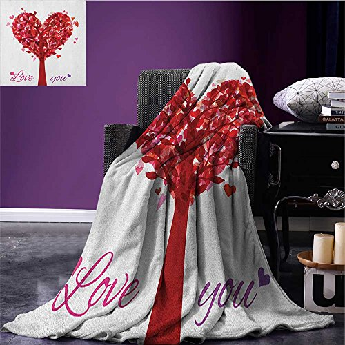 Love Custom blanket Tree in Shape of Heart Holiday Romance Vintage Style Artistic Valentines Design all weather blanket Ruby Pink Purple ()
