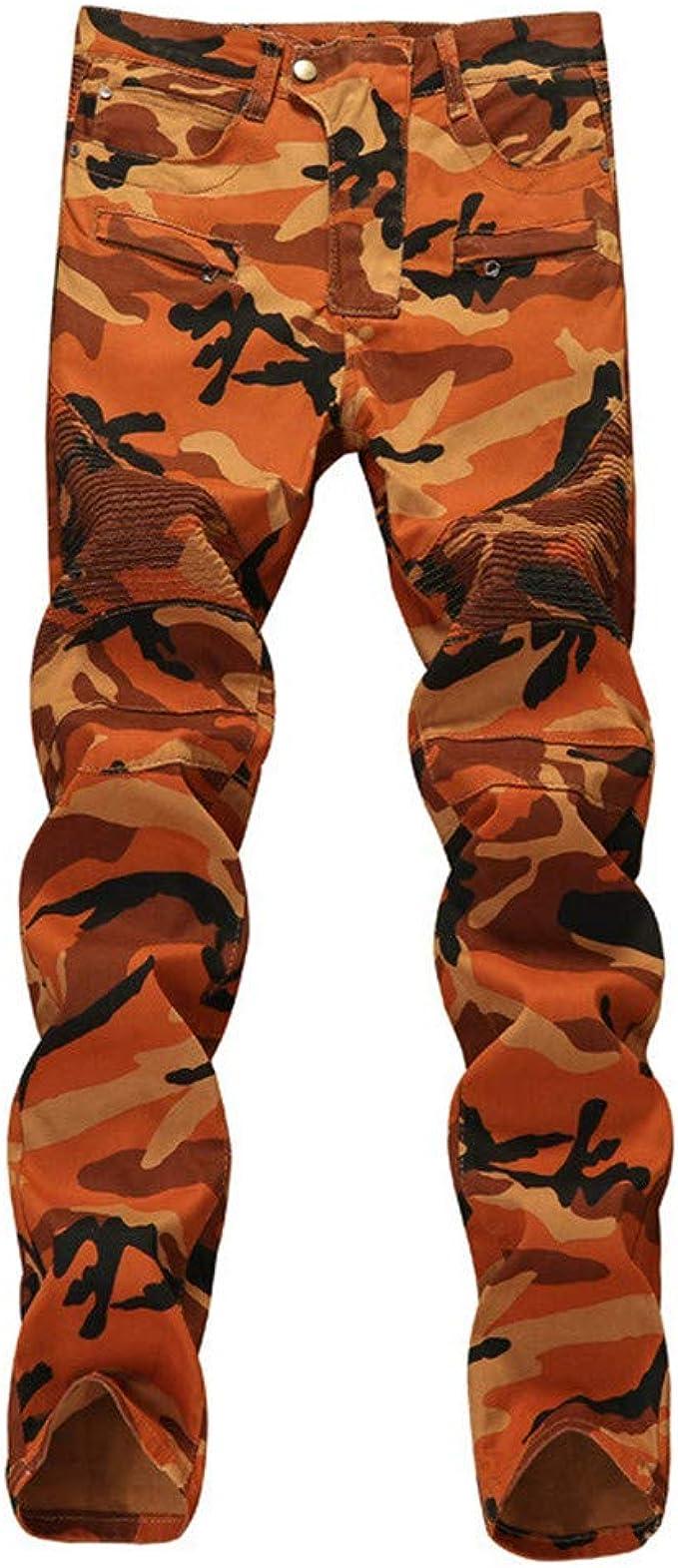 Mens Skinny Camo Military Cargo Jeans Biker Pocket Denim Pants Slim Fit Trousers
