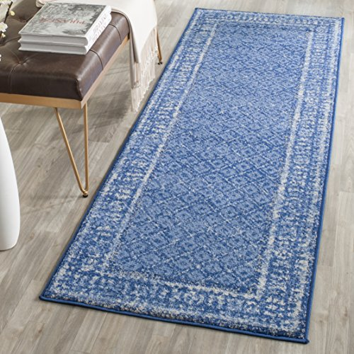 10' X Runner Blue 2'6 (Safavieh Adirondack Collection ADR110F Light Blue and Dark Blue Vintage Distressed Runner (2'6