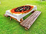 Lunarable Fireman Outdoor Tablecloth, Fire Department Icon with Ladder Public Service Essential Tools of Firefighters, Decorative Washable Picnic Table Cloth, 58 X 104 Inches, Multicolor