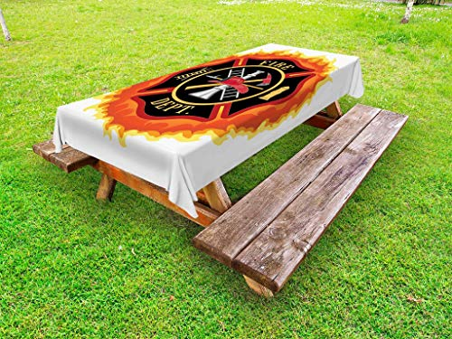 Lunarable Fireman Outdoor Tablecloth, Fire Department Icon with Ladder Public Service Essential Tools of Firefighters, Decorative Washable Picnic Table Cloth, 58 X 84 Inches, Multicolor