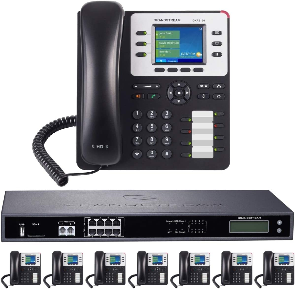8-Line Business Phone System: Enhanced Pack with Auto Attendant, Voicemail, Cell & Remote Phone Extensions, Call Recording & 1 Year Free Mission Machines Phone Service (8 Phone Bundle)