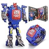 XHAIZ Kids Transformers Toys, Digital Watch for Kids 2 IN 1 Electrical Wristwatch, Robot Watch for School Gift (Blue)