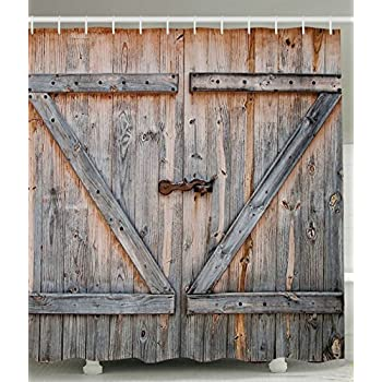 Attractive Rustic Country Barn Doors Fabric SHOWER CURTAIN Distressed Old Wood Boards  Bath