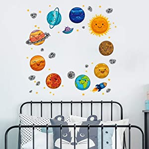 5 Sheet Solar System Wall Stickers, MOTASOM Removable Space Planet Wall Decals for Kids, Cartoon Universe Wall Art Decor Decals Murals for Home Nursery Bedroom Living Room Ceiling