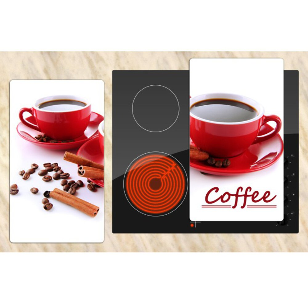 Herdabdeckplatten Multi Glasschneideplatte 2er Set Coffee Spritzschutz