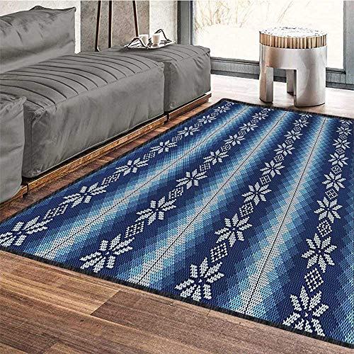 Winter, Area Rug Boys Room, Traditional Scandinavian Needlework Inspired Pattern Jacquard Flakes Knitting Theme, Door Mats for Inside Non Slip Backing 5x8 Ft Blue White by lacencn (Image #4)