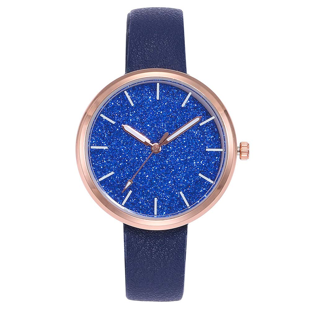 WoCoo Womens Watch,Classic Analog Quartz Watch with Solid Color Leather Band(D)