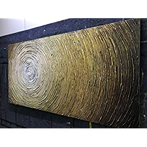 Fasdi-ART Paintings, 24x48 inch Paintings,Oil Painting Landscape 3D Hand-Painted On Canvas Abstract Artwork Art Wood Inside Framed Hanging Wall Decoration Abstract Painting (DF015)