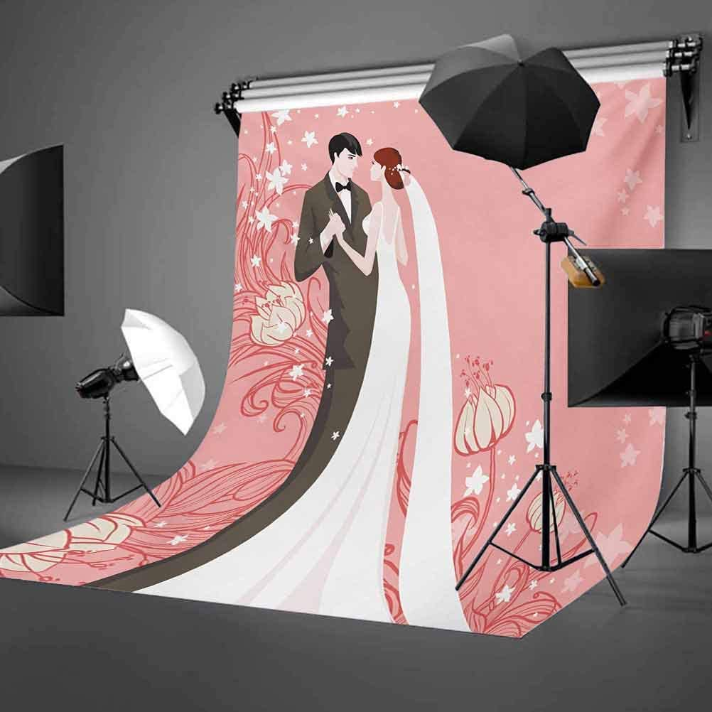 Wedding 10x15 FT Photography Backdrop Bride and Groom Getting Married Dancing on Pink Floral Background Abstract Art Background for Baby Birthday Party Wedding Vinyl Studio Props Photography