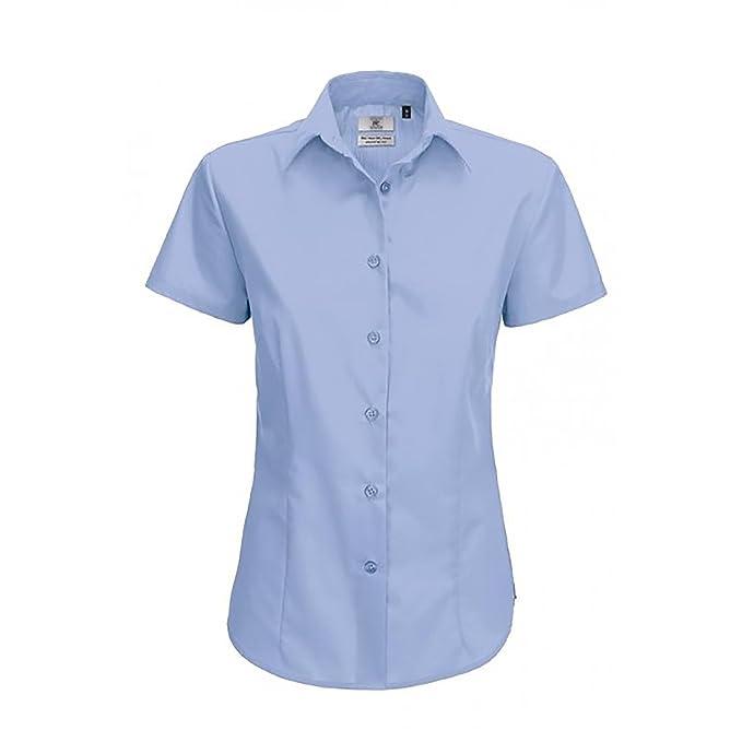 B and C Camisa de manga corta de popelina para mujer (XS/Azul claro
