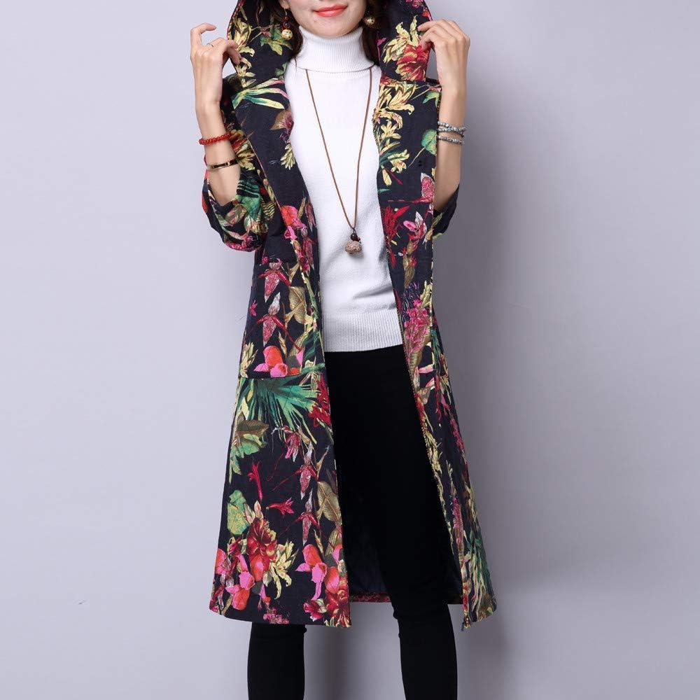 Lazzboy Women Coats Parka Ethnic Boho Vintage Print Winter Ladies Button Cotton Padded Warm Long Jacket UK 6-18 Oversized Plus Size