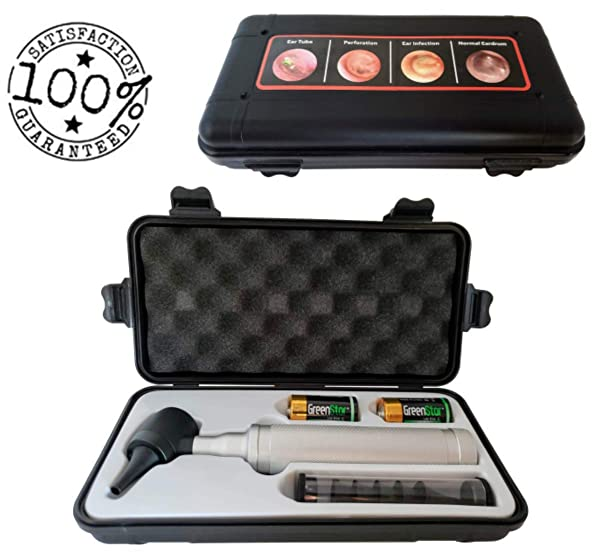 5th Generation Dr Mom LED PRO Otoscope - 100% Forever Guarantee Covers Any Issue - Full Size Otoscope with Our Largest Diameter Optical Glass Lens Includes Batteries and Disposable Specula