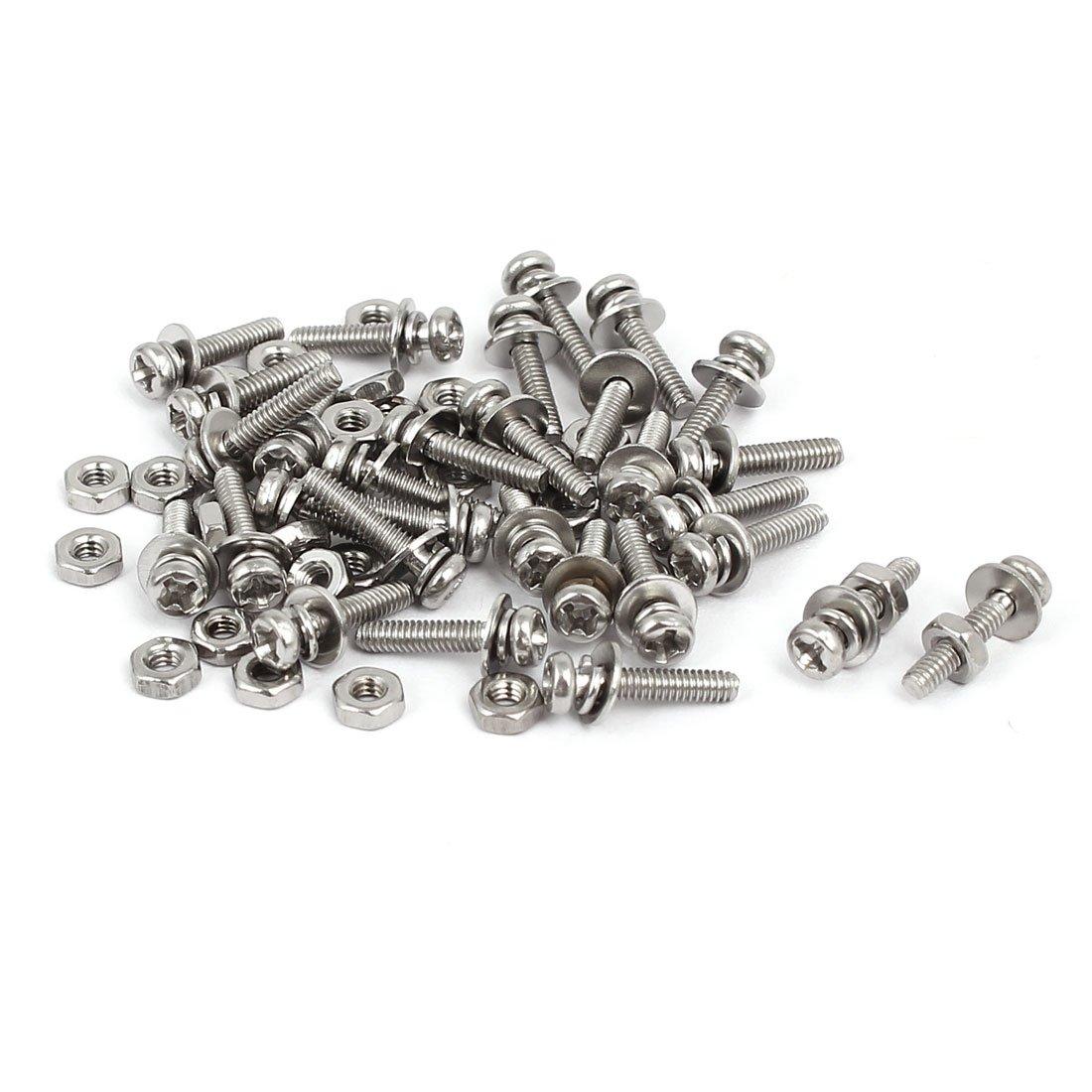 sourcingmap® M2 x 10mm Tornillos de cabeza plana de acero inoxidable 304 con tuercas con arandeas 30 pcs