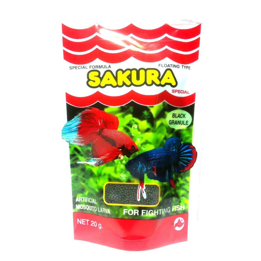 New Special Formula Sakura Artificial Misquito Larva Main betta fish food From Thailand 20g.