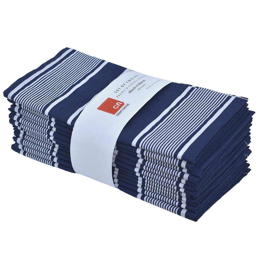 Cloth Napkins Set of 12 Cotton - 20 X 20 Inch Reusable Napkins - Oversized Cotton Napkins Made of Pure Cotton Fabric - Used as Dinner Napkins - White and Navy Blue Stripe Fabric Linen Napkins by Craft Native