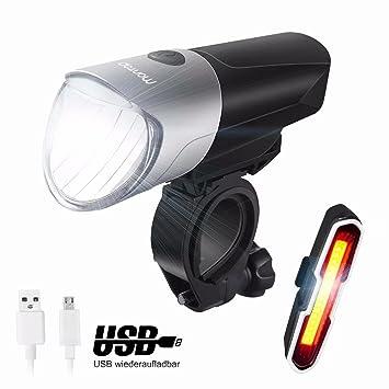 MONTOP Luz Bicicleta,Luz Bici USB Recargables Luces Bicicleta Delantera y Trasera,Impermeable Linterna Bicicleta,Bici Seguridad Faro de Señal,Super ...