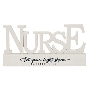 Dicksons Nurse Matthew 5:16 Word on Pedestal White 3.5 x 6.5 Resin Stone Table Top Sign Plaque