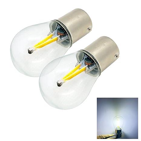 Pack de 2 bombillas de luz blanca cálida 1156 BA15S S25 para coche, filamento COB