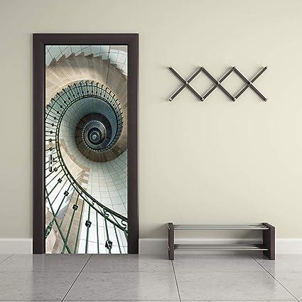 Door Murals Peel And Stick.Self Adhesive 3d Door Murals Peel And Stick Spiral Staircase