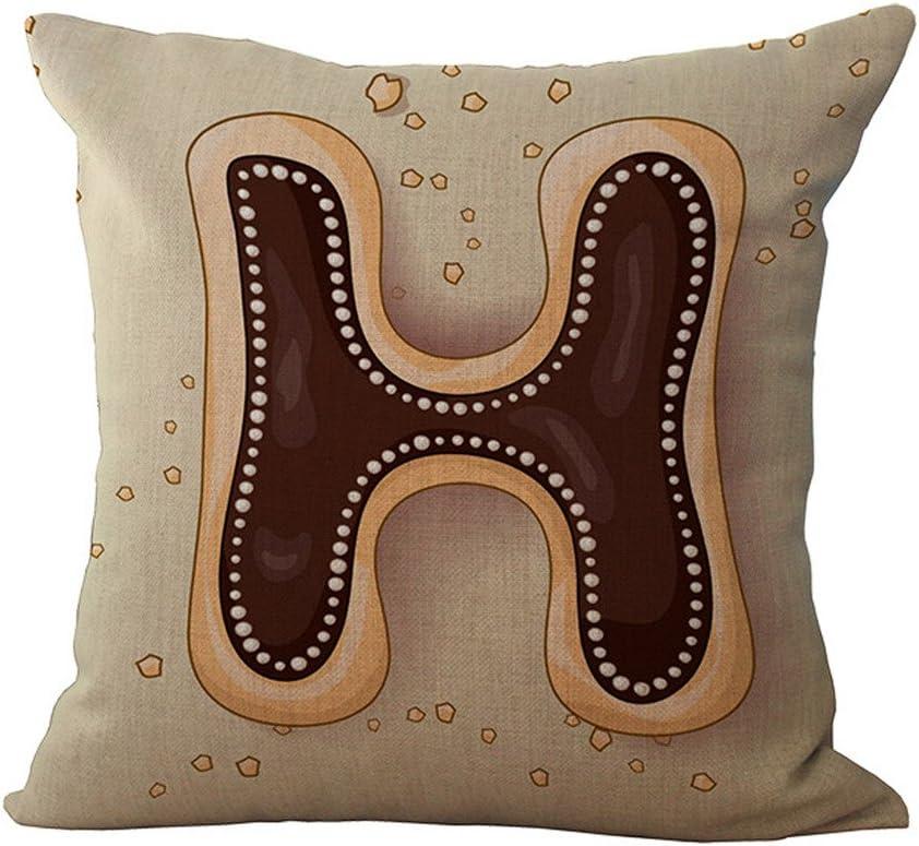 English Letter Alphabet Pillow Print Cushion Pillow Case Cover Room Decor Brown