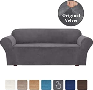High Stretch Rich Velvet Plush 1-Piece Sofa Cover Skid Resistance Slipcover Furniture Cover/Slipcover, Machine Washable Anti-Slip Foams Couch Shield Plush Cover (Sofa 3 Seater) Gray