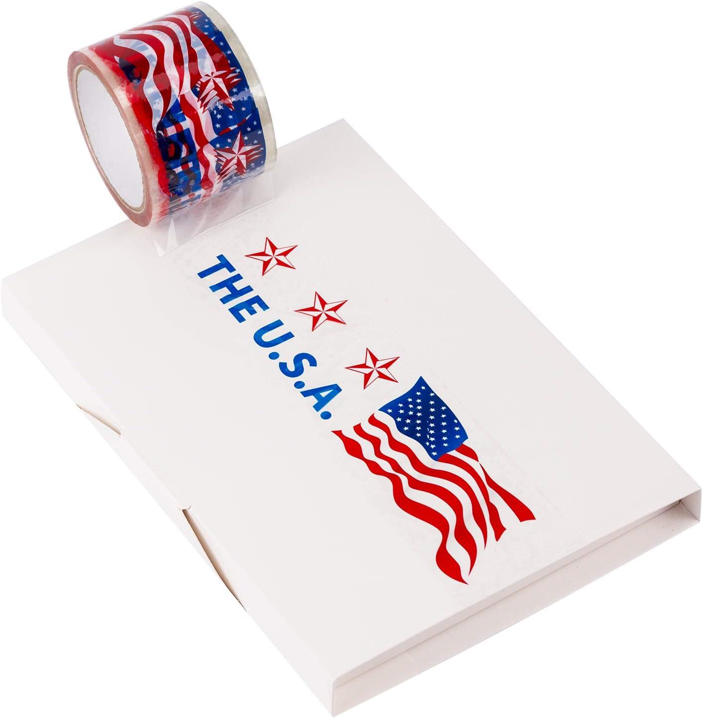 Ruspepa Cinta adhesiva de embalaje, resistente, bandera estadounidense, cinta adhesiva impresa 2.88 pulgadas x 50 yardas, 1 rollo: Amazon.es: Oficina y papelería