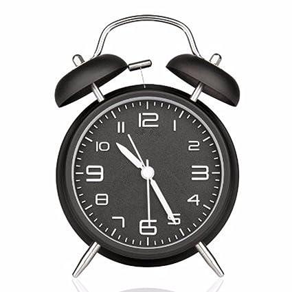 Reloj Despertador, Drillpro Alarm Clock, Clásico Doble Campana Despertador con Luz de Noche, 4 Pulgadas Dial Grande, Reloj de Cuarzo Analógico con ...
