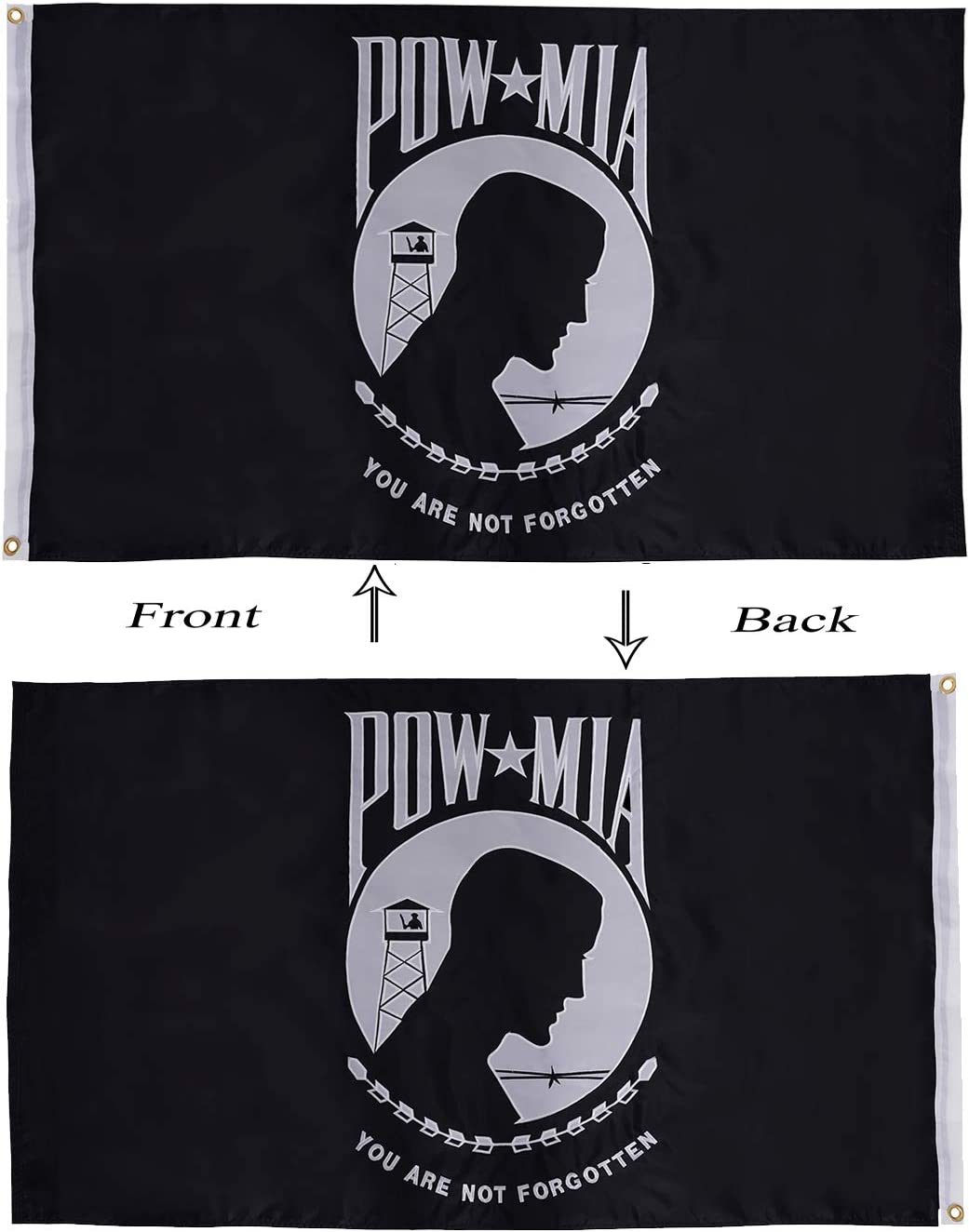 Pow Mia You Are never Forgotten Red//Black 3x5 Flag Double Sided 2ply Polyester