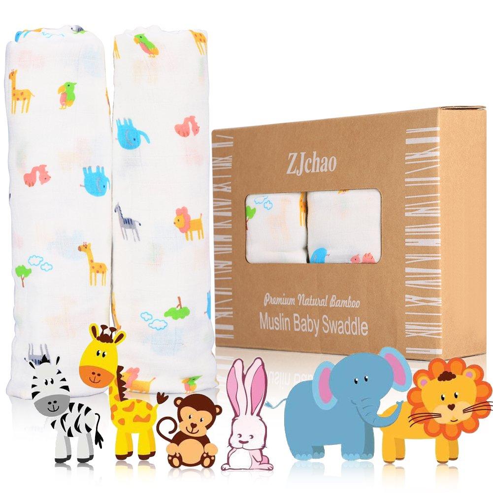 2 pcs Couvertures d'Emmaillotage en Bambou Fibre et Coton pour Emmailloter un Bébé 120 x 120cm ZJchao