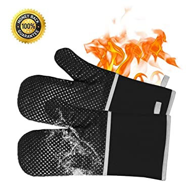 eing Silicone Oven Mitts - Heat Resistant to 500° F,1 Pair of Non-Slip Kitchen Oven Gloves for Cooking,Baking,Grilling,Barbecue Potholders,Black