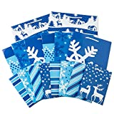 Image Arts Holiday Gift Bag Assortment, Blue and White Patterns (Pack of 16)