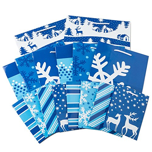Image Arts Holiday Assorted Gift Bag Bundle (Blue and White Patterns, 16 Pack)