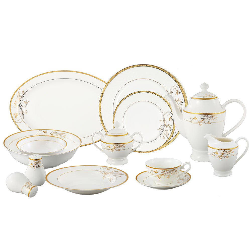 Lorren Home Trends La Luna Bone China 57-Piece 24K Gold Floral Design Dinnerware Set Service for 8 Amazon.co.uk Kitchen u0026 Home  sc 1 st  Amazon UK & Lorren Home Trends La Luna Bone China 57-Piece 24K Gold Floral ...
