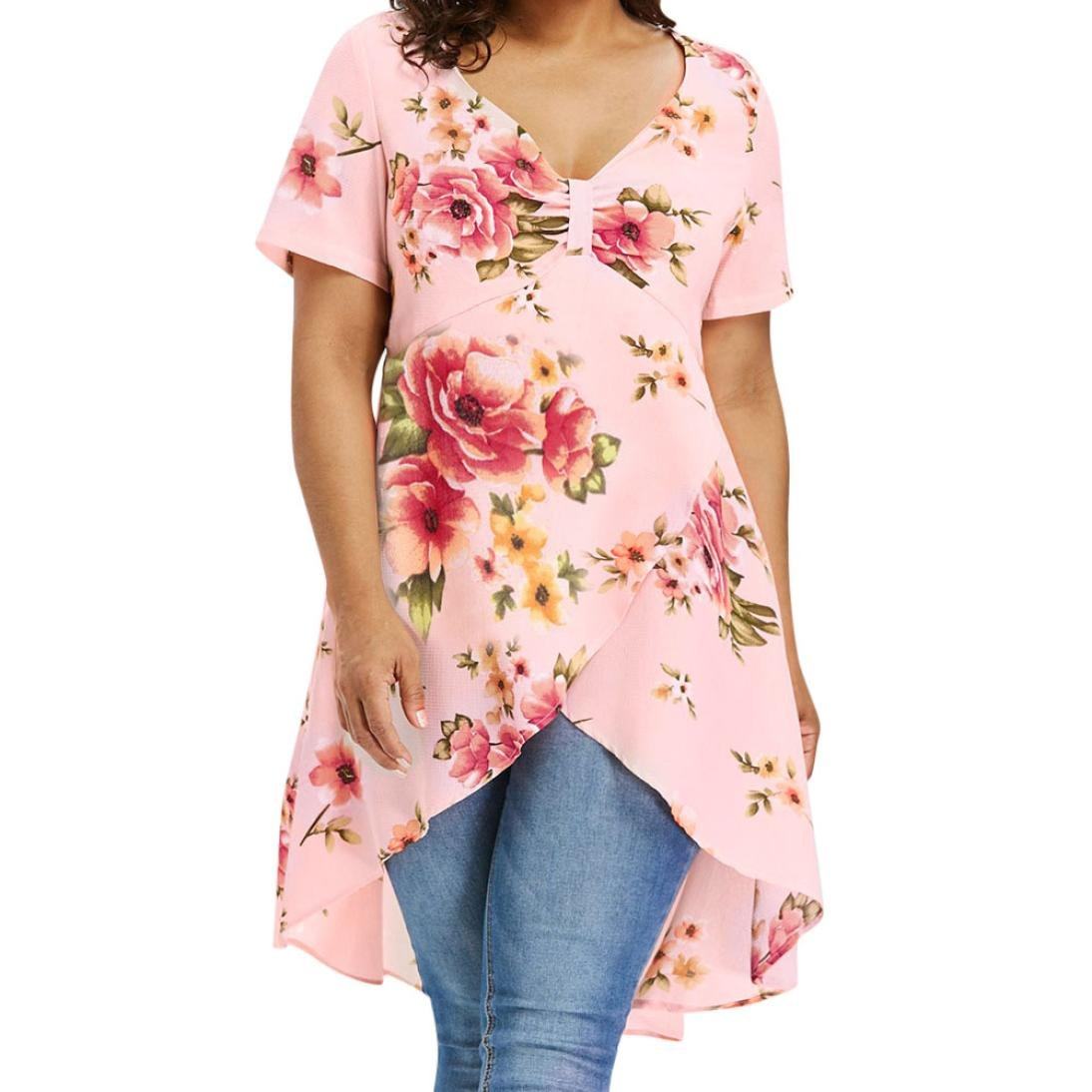 Women Plus Size Sexy V Neck Floral T Shirt Short Sleeve Asymmetrical Printed Tees Top (Pink, L)