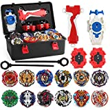 MANZY 12 pcs Bayblades Burst Evolution Metal Fusion with 3 Launchers Gyro Battling Game Starter Pack Set 12 Spinning Top + 3 Launcher