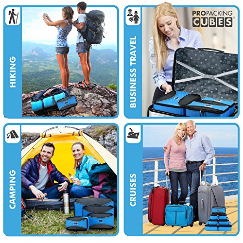 PRO Packing Cubes Lightweight Travel - Packing for Carry-on Luggage, Suitcase and Backpacking Accessories Set, Sky Blue - 4 Piece