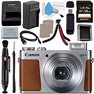 Canon PowerShot G9 X Digital Camera (Silver) 0924C001 + NB-13L Lithium Ion Battery + External Rapid Charger + Sony 128GB SDXC Card + Memory Card Wallet + Card Reader + Micro HDMI Cable + Tripod Bundle
