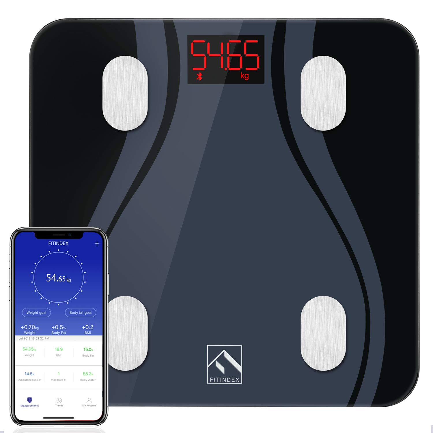 Smart Body Fat Scales, High Precision Bluetooth Scale