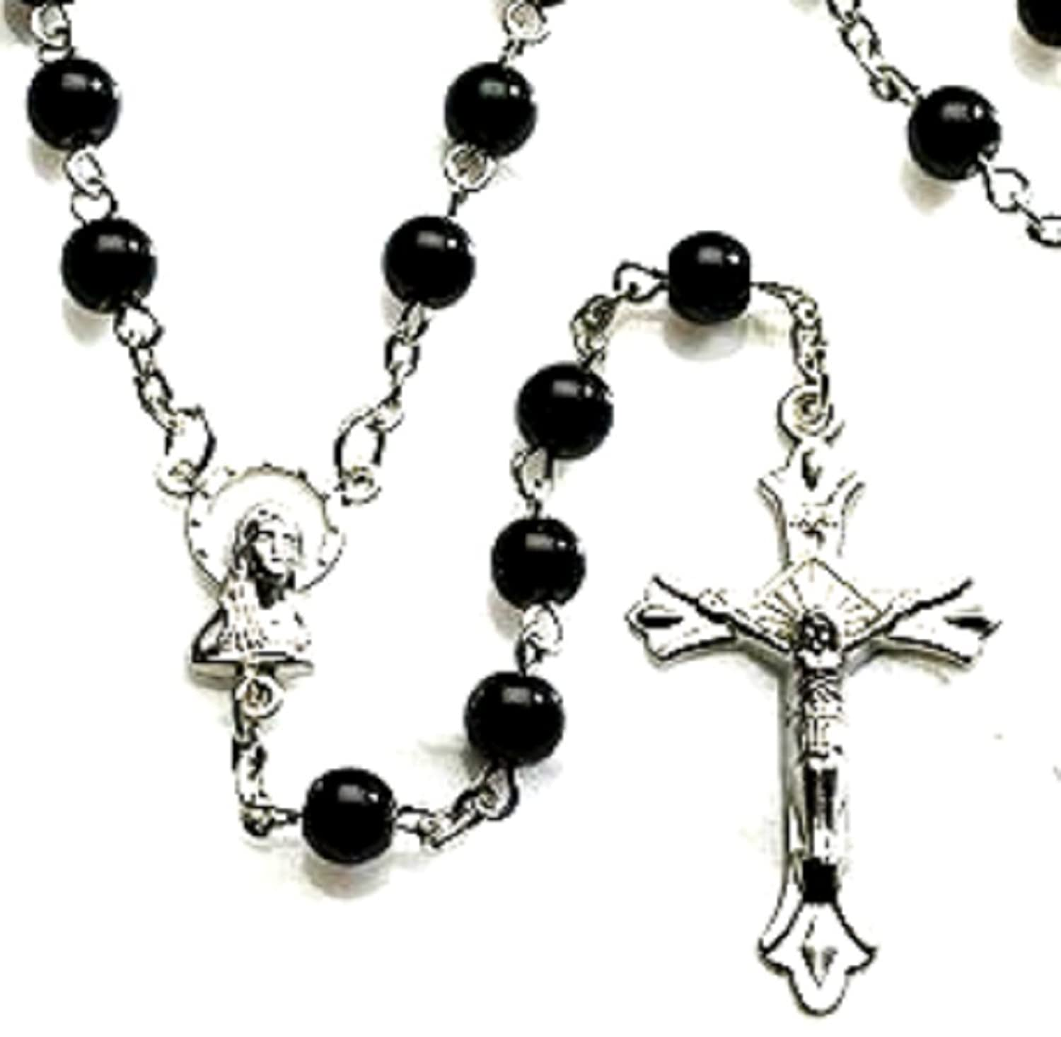 Beautiful black beaded cross necklace jewellrys website men s black glass rosary beads cross necklace pendant crucifix aloadofball Choice Image