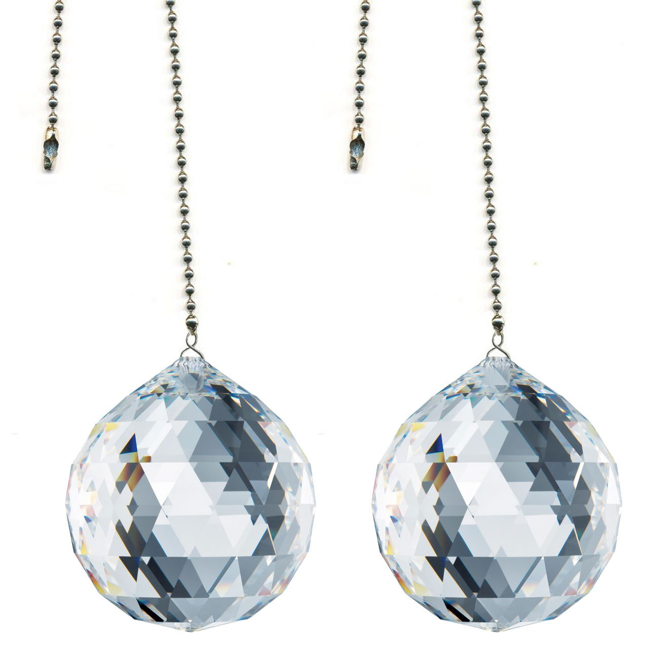 CrystalPlace Ceiling Fan Pull Chain 30mm Swarovski Strass Clear Faceted Ball Prism Decorative Rainbow Maker Fan Pulley Set of 2 by CrystalPlace