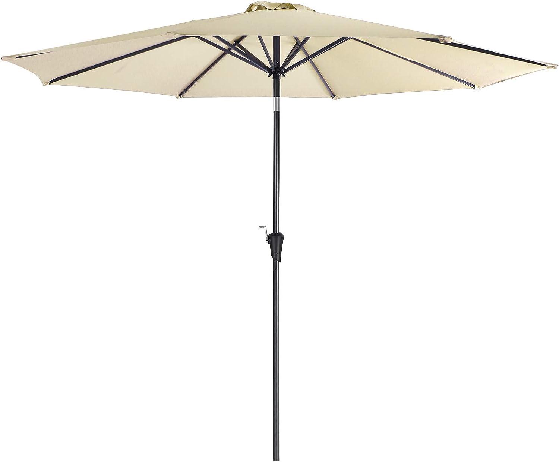 SONGMICS Sombrilla de 3 m, Parasol Octogonal de Poliéster, con Mecanismo de Inclinación y Manivela, para Jardines Exteriores, Balcón y Patio, (Base No Incluida) Beige GPU30BE: Amazon.es: Jardín