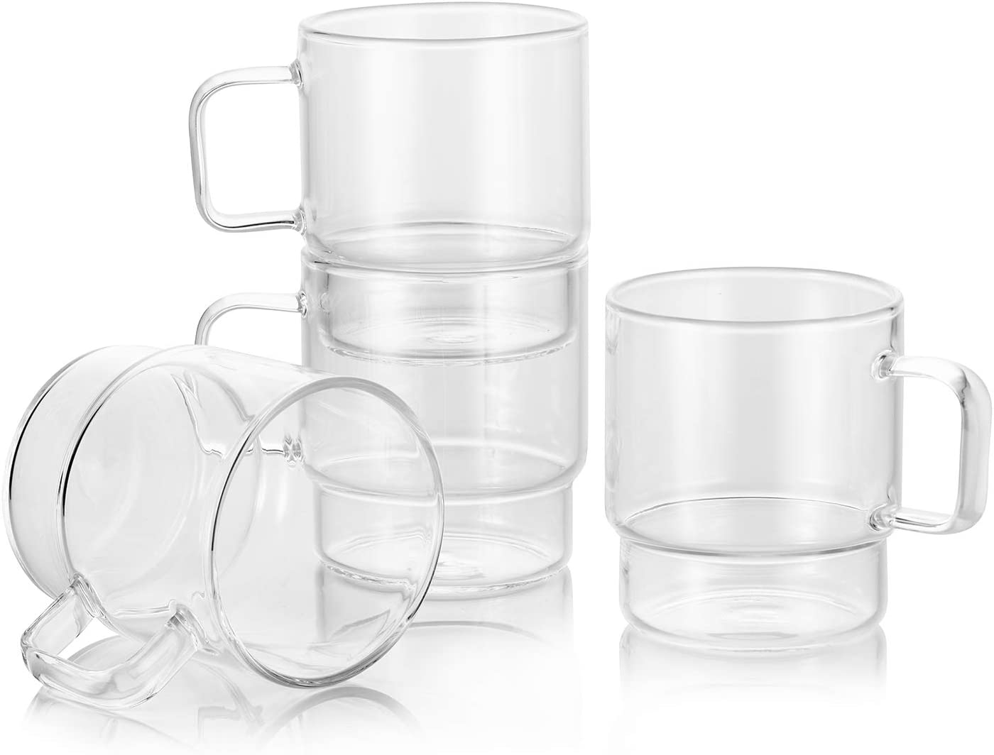 Enindel 3026.02 Glass Latte Cups - Stackable Coffee Mug, Tea Cup, Clear, 9 OZ, Set of 4