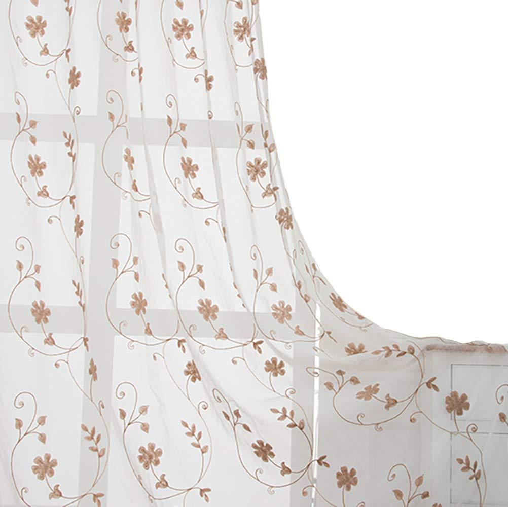 Floral 6096 VOGOL Rod Pocket Sheer Curtains Elegant Embroidered Bird Design White Window Drapes Panels for Living Room, 54 x 84,Two Panels