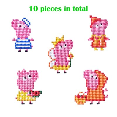 Diamond Painting Stickers Kits for Kids Mosaic Diamond Paint by Numbers(Piggy): Toys & Games