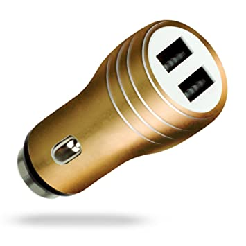 MyGadget Cargador de Coche Metálico Doble Puerto USB (2,1A / 1A) para Móvil - Adaptador Automóvil para Samsung Galaxy Apple iPhone Tablet Nexus - ...