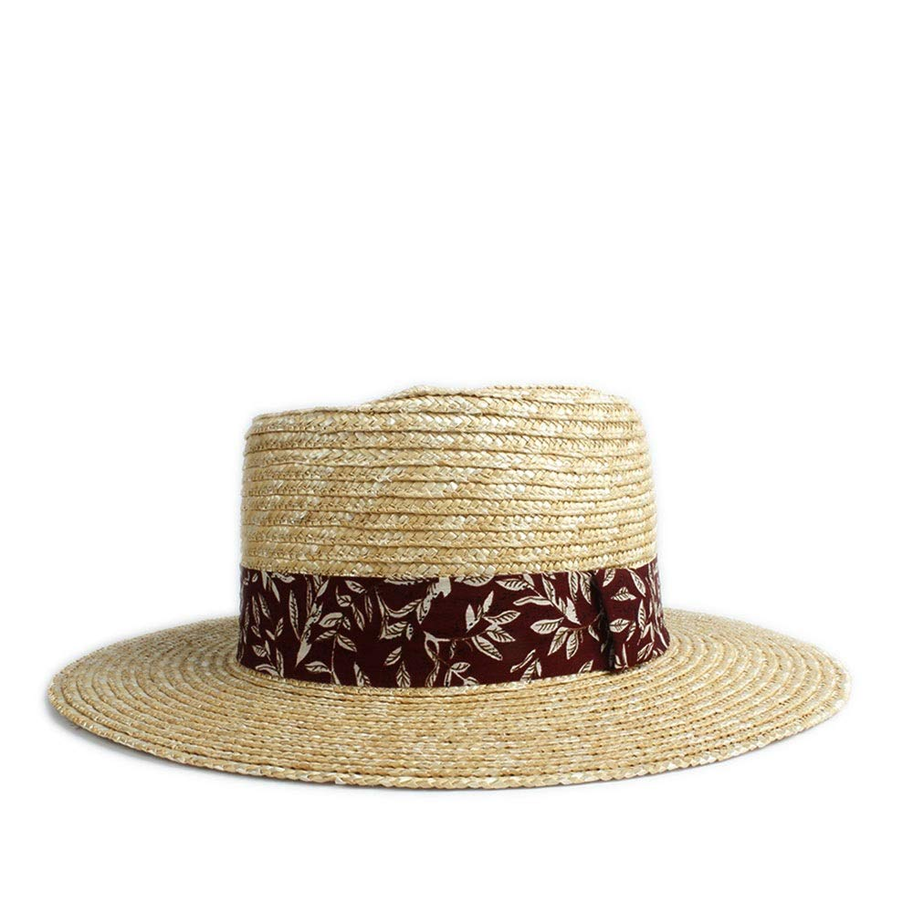 MUMUWU Summer Autumn Sun Hat Shuck Ms. Panama Plane Cap Bowling Jazz Hat Red Cloth Strip Print Decoration (Color : 1, Size : 56-58CM)