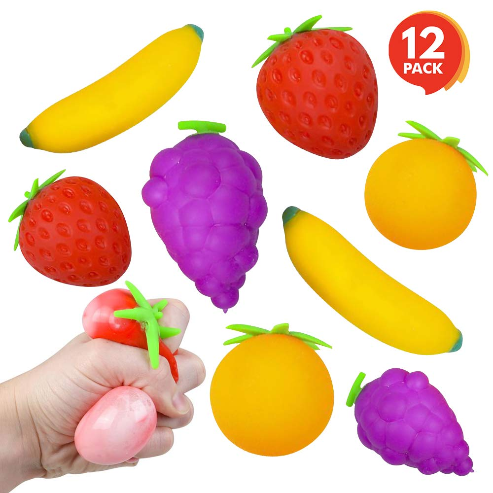 ArtCreativity 3 Inch Assorted Stress Relief Fruits - Set of 12 - Squeezee Toys Assortment for Kids and Adults - Includes Banana, Strawberry, Grape and Orange - Fun Party Favors for Boys and Girls by ArtCreativity