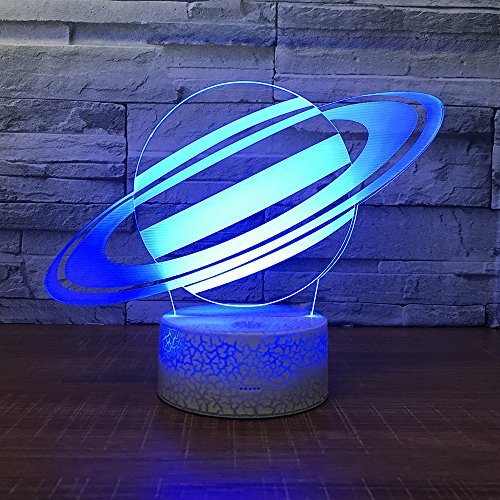 Saturn Planet Toy 3D Visual Desk Lamp Space Night Light Household Home bedroom Decor 7 Colors Change Touch Table Light Birthday Gift Christmas for Kids and -